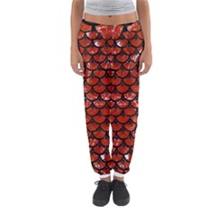 Scales3 Black Marble & Red Marble (r) Women s Jogger Sweatpants by trendistuff