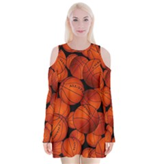 Basketball Sport Ball Champion All Star Velvet Long Sleeve Shoulder Cutout Dress by Jojostore