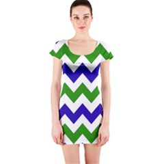 Blue And Green Chevron Pattern Short Sleeve Bodycon Dress