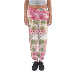 Aquarelle Pink Flower  Women s Jogger Sweatpants by Brittlevirginclothing