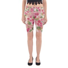 Aquarelle Pink Flower  Yoga Cropped Leggings by Brittlevirginclothing