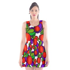 Peaches And Plums Scoop Neck Skater Dress by Valentinaart