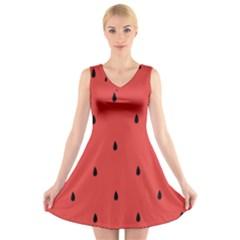 Watermelon Seeds Red V Neck Sleeveless Skater Dress