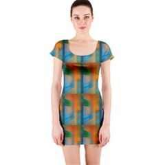 Wall Of Colour Duplication Short Sleeve Bodycon Dress