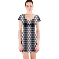 Webbing Woven Bamboo Short Sleeve Bodycon Dress