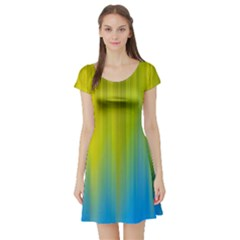 Yellow Blue Green Short Sleeve Skater Dress