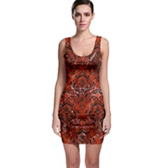 Damask1 Black Marble & Red Marble (r) Bodycon Dress by trendistuff