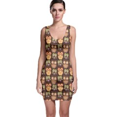 Eye Owl Line Brown Copy Sleeveless Bodycon Dress by Jojostore