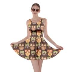 Eye Owl Line Brown Copy Skater Dress
