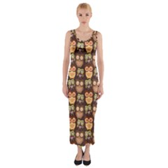 Eye Owl Line Brown Copy Fitted Maxi Dress by Jojostore