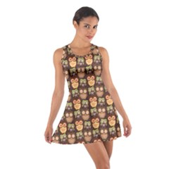 Eye Owl Line Brown Copy Cotton Racerback Dress by Jojostore