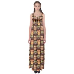 Eye Owl Line Brown Copy Empire Waist Maxi Dress by Jojostore
