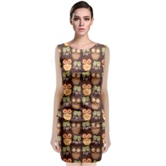 Eye Owl Line Brown Copy Classic Sleeveless Midi Dress by Jojostore