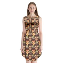 Eye Owl Line Brown Copy Sleeveless Chiffon Dress   by Jojostore