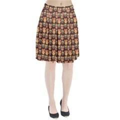 Eye Owl Line Brown Copy Pleated Skirt by Jojostore