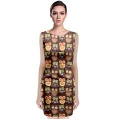 Eye Owl Line Brown Copy Sleeveless Velvet Midi Dress by Jojostore