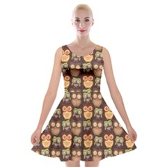 Eye Owl Line Brown Copy Velvet Skater Dress by Jojostore