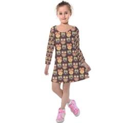Eye Owl Line Brown Copy Kids  Long Sleeve Velvet Dress by Jojostore