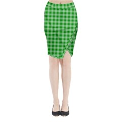 Gingham Background Fabric Texture Midi Wrap Pencil Skirt by Jojostore