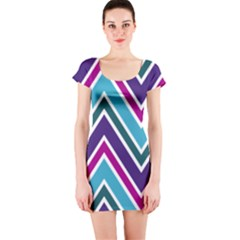 Fetching Chevron White Blue Purple Green Colors Combinations Cream Pink Pretty Peach Gray Glitter Re Short Sleeve Bodycon Dress