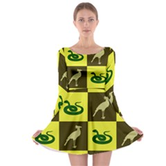 Snake Bird Long Sleeve Skater Dress by Jojostore