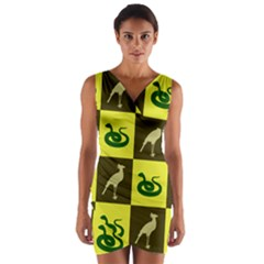 Snake Bird Wrap Front Bodycon Dress by Jojostore