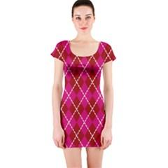 Texture Background Argyle Pink Red Short Sleeve Bodycon Dress