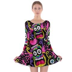 Monster Face Mask Patten Cartoons Long Sleeve Skater Dress by Jojostore