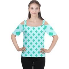 Plaid Blue Box Women s Cutout Shoulder Tee by Jojostore