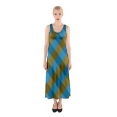 Plaid Line Brown Blue Box Sleeveless Maxi Dress by Jojostore