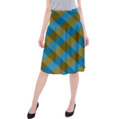 Plaid Line Brown Blue Box Midi Beach Skirt by Jojostore
