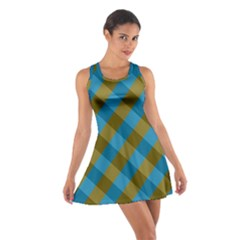 Plaid Line Brown Blue Box Cotton Racerback Dress by Jojostore