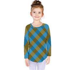 Plaid Line Brown Blue Box Kids  Long Sleeve Tee by Jojostore