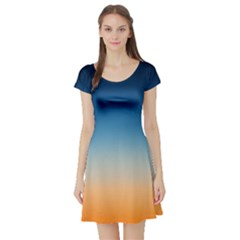 Rainbow Blue Orange Purple Short Sleeve Skater Dress