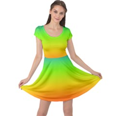 Rainbow Blue Green Pink Orange Cap Sleeve Dresses