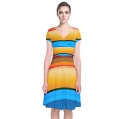 Rainbow Color Short Sleeve Front Wrap Dress by Jojostore