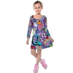 Q Pattern Kids  Long Sleeve Velvet Dress