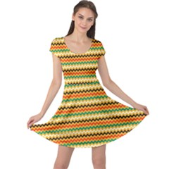 Striped Pictures Cap Sleeve Dresses