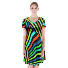 Colorful Cat Short Sleeve V Neck Flare Dress by Jojostore