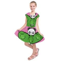 Edamame Panda Pink Cute Animals Kids  Short Sleeve Dress by Jojostore