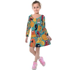 Creature Cluster Kids  Long Sleeve Velvet Dress by Jojostore