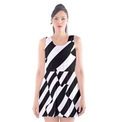 Flaying Bird Black White Scoop Neck Skater Dress by Jojostore