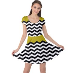 Colorblock Chevron Pattern Mustard Cap Sleeve Dresses