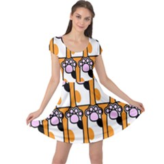 Cute Cat Hand Orange Cap Sleeve Dresses