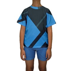 Lines Textur  Stripes Blue Kids  Short Sleeve Swimwear by Jojostore