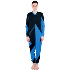 Lines Textur  Stripes Blue Onepiece Jumpsuit (ladies)  by Jojostore