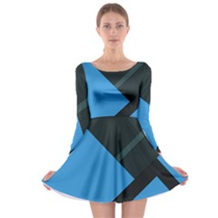 Lines Textur  Stripes Blue Long Sleeve Skater Dress by Jojostore