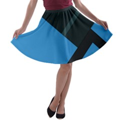 Lines Textur  Stripes Blue A Line Skater Skirt by Jojostore