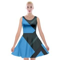Lines Textur  Stripes Blue Velvet Skater Dress by Jojostore