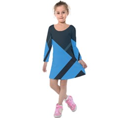 Lines Textur  Stripes Blue Kids  Long Sleeve Velvet Dress by Jojostore